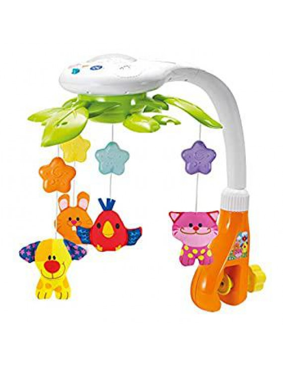 Baby Crib Mobile with Lights and Relaxing Music. Includes Ceiling Light Projector with Stars, Animals. Musical Crib Mobile with Timer. Nursery Toys for Babies Ages 0 and Older