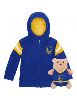 Golden State Warriors Cubcoats Preschool 2-in-1 Transforming Full-Zip Hoodie & Soft Plushie - Royal
