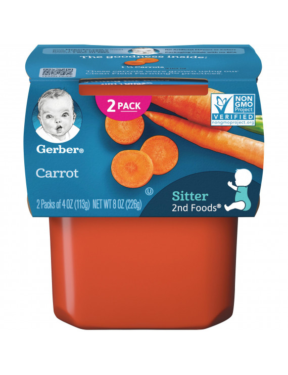 (Pack of 8) Gerber 2nd Foods Baby Food Carrot 2-4 oz Tubs