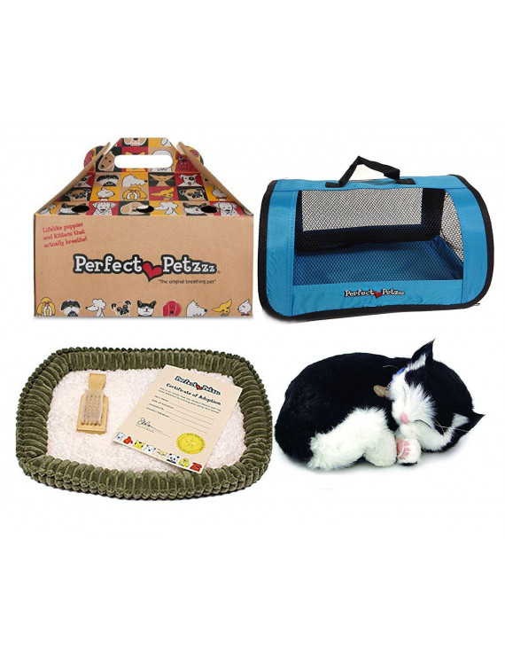 New Perfect Petzzz Black and White Shorthair Kitten Plush with Blue Tote For Plush Breathing Pet