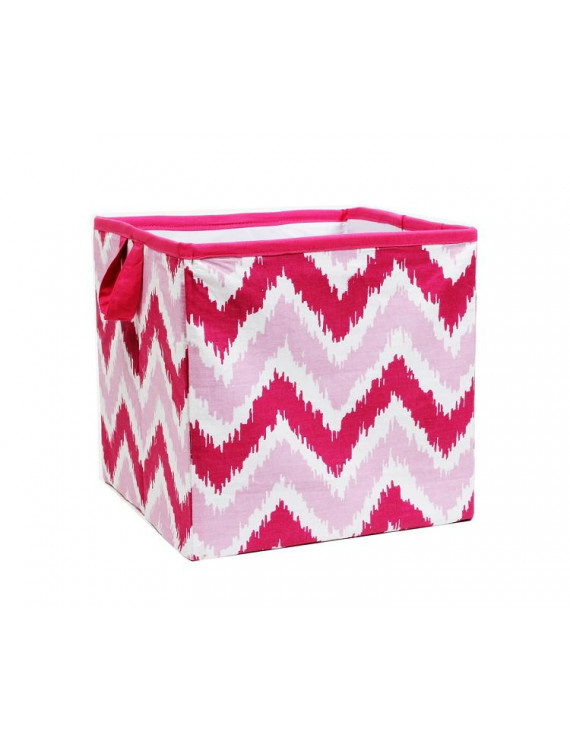 Bacati - MixNMatch Pink Zigzag Cotton Percale Fabric covered Storage, Small Box, 10 L x 10 W x 10 H inches