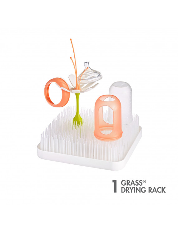 Boon Grass Countertop Drying Rack, Low-Profile Easy To Clean Baby Bottle Drying Rack, White