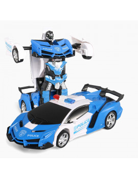 2 in 1 RC Robot Car, Remote Control Transforming Race Car, With Sounds & LED Lights &Gesture Sensing ,1:18 Scale Play Vehicles Car Toy , Kids Gifts Home Family Fun
