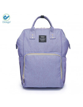 Deago Waterproof Backpack Mummy Bag Baby Water Feeding Bottle Portable Diaper Bag Computer Large Capacity Bag Purple