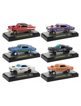 """Gassers"" Release 51, Set of 6 Cars IN DISPLAY CASES 1/64 Diecast Model Cars by M2 Machines"