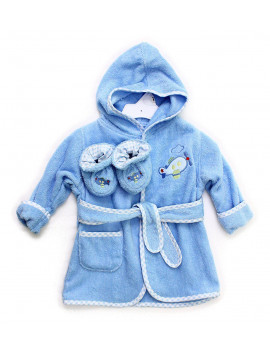 100% Cotton Hooded Terry Bathrobe with Booties, Blue Plane, 0-9 Months, Hooded terry bathrobe featuring gingham trim and character appliques By Spasilk Ship from US