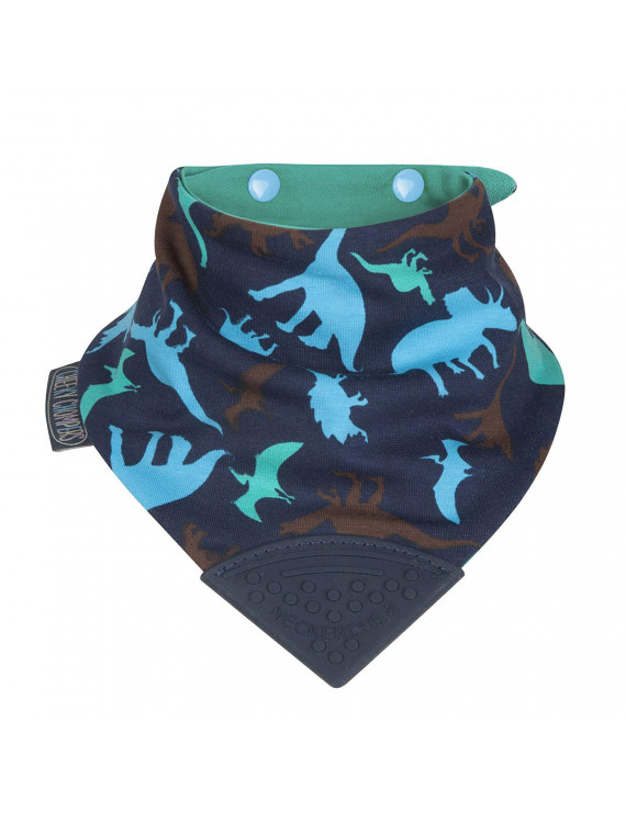'Neckerchew Dino Friends' Baby 2-24 Month Adjustable Poppers, Attached - teether stays with baby wherever you go and cant be dropped or lost. This.., By Cheeky Chompers