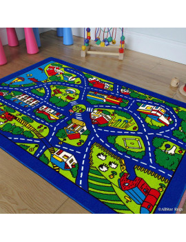 """Allstar Kids / Baby Room Area Rug. Street Map with Blue Vibrant Colors (3' 3"""" x 4' 10"""")"""