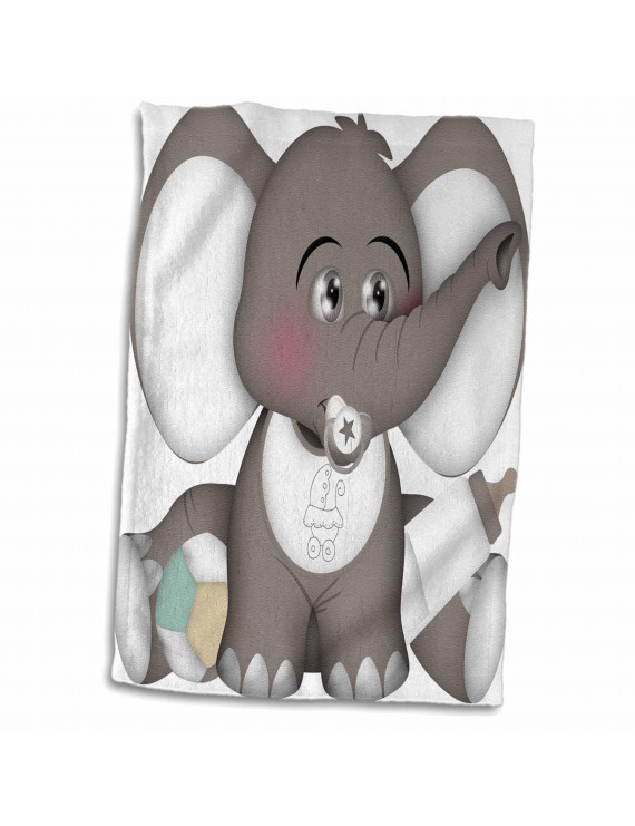 3dRose Cute Gray and White Baby Elephant With A Pacifier, Bib, and Bottle - Towel, 15 by 22-inch
