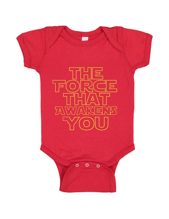 The Force That Awakens You Funny Boys Girls Humor Baby Gift Infant Fine Jersey Creeper Bodysuit