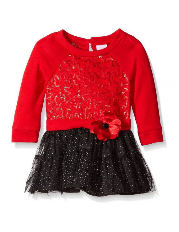 Youngland Baby Girls 12-24 Months Sequin Rosette Dress(Red 18 Months)