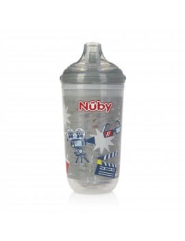 Nuby 10 Oz. No-Spill Insulated Light Up Gray Easy Sippy Cup