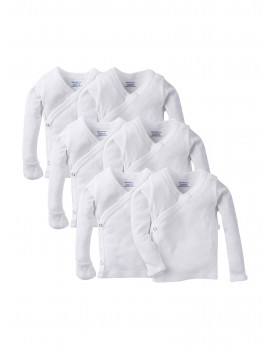 Gerber Baby Boy or Girl Gender Neutral White Long Sleeve Side Snap Shirt with Mitten Cuffs, 6-Pack