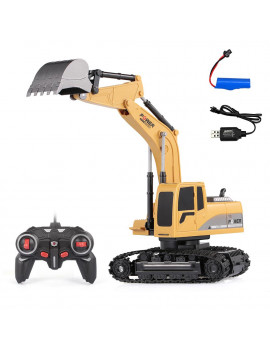 Ametoys 1/24 RC Excavator RC Car Construction Tractor Metal Shovel Kids Toy with Lights & Sounds