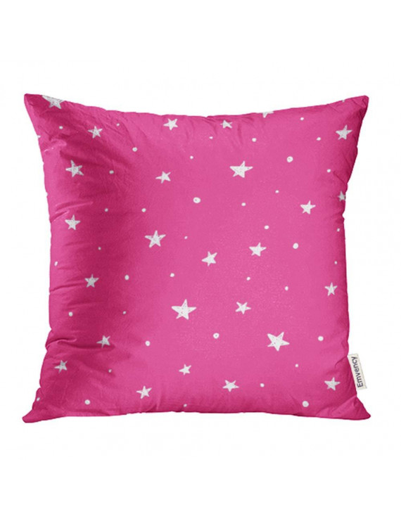 YWOTA Girly Pink with White Stars Cartoon Abstract Children Cute Doodle Drawing Drawn Pillow Cases Cushion Cover 18x18 inch