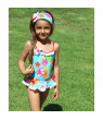 Azul Little Girls Red Turquoise Totes Cute Skirted One Piece Swimsuit