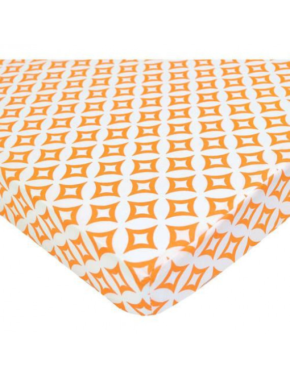 American Baby Co. Percale Cotton Fitted Portable/MiniCrib Sheet, Orange Tweedle Deedle