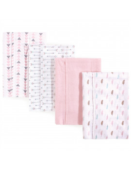 Luvable Friends Flannel Burp Cloth, 4 Pack, Girl Feathers