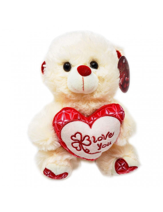 Soft Plush Cute Teddy Bear Doll Valentines Gift with I Love You Heart