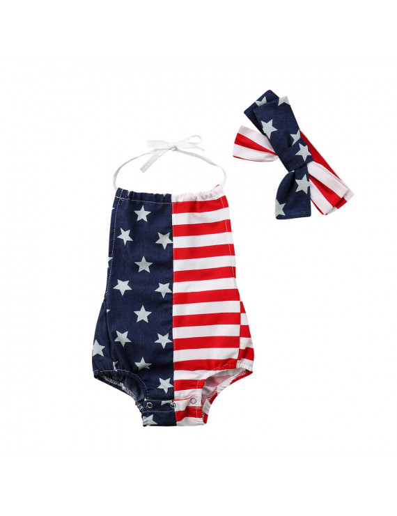 Infant Baby Girls 4th of July Halter Romper Bodysuit with Headband Baby Girls Bodysuit USA Flag Independence Day Clothes