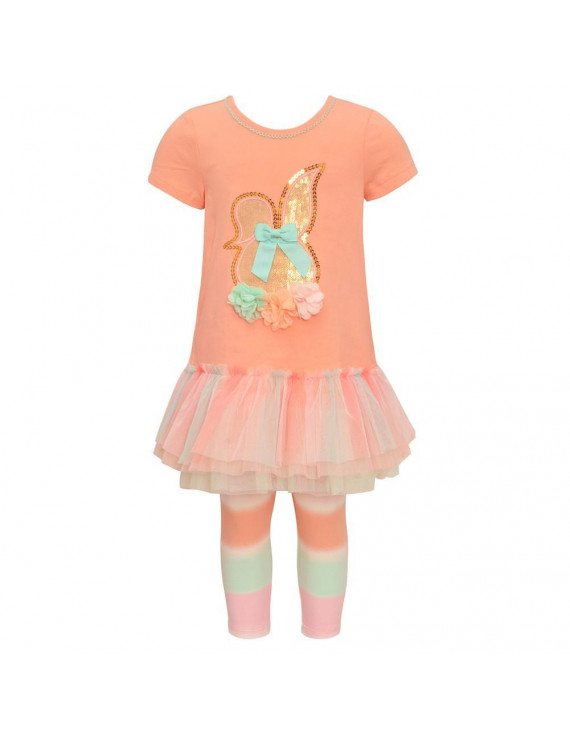 Bonnie Jean Baby Girls Peach Flower Appliques Glitter 2 Pc Legging Set
