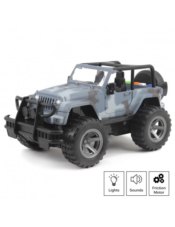 Vokodo Off-Road Military Suv Truck Friction Power 1:16 Scale With Lights And Sounds Opening Doors Gift