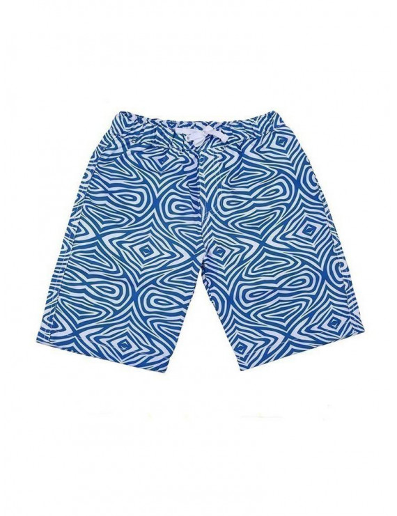 Sun Emporium Baby Boys Blue White Tribal Print Back Pocket Board Shorts