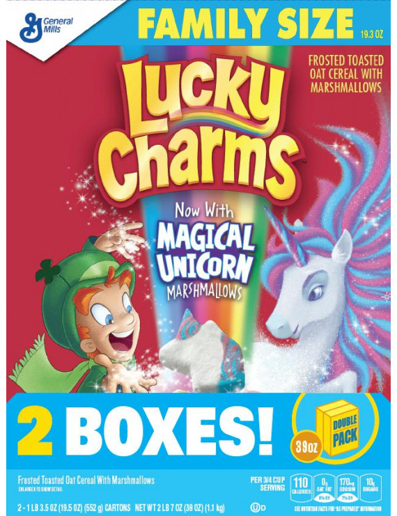 General Mills, Lucky Charms Breakfast Cereal, Marshmallow Cereal, Magical Unicorn, 2 Boxes - 38.6 Oz