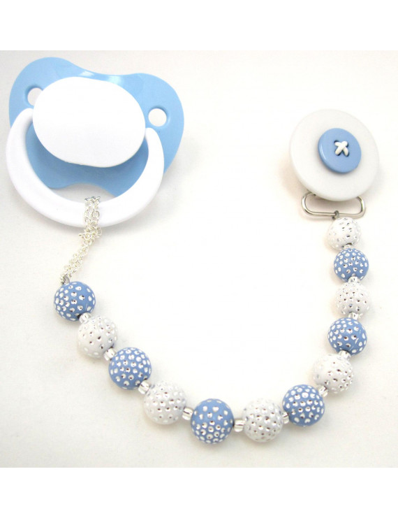 Button Pacifier Clip with Acrylic Beads