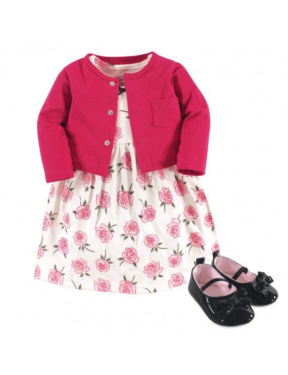 Little Treasure Baby Girl Cardigan, Dress & Shoes, 3pc Outfit Set