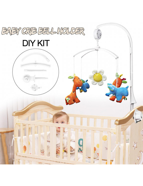 Baby Kids Crib Mobile Bed Bell Toy Holder Hanging Arm Bracket + Wind-up Music Box White