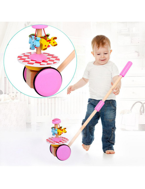 matoen Creative Wooden Baby Walk Single Rod Spiral Trolley Learning Education Toy Cart