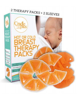 Breast Therapy Pack - Cold or Hot Gel Packs for Breastfeeding Relief - 2 Therapy Packs + 2 Sleeve Cover