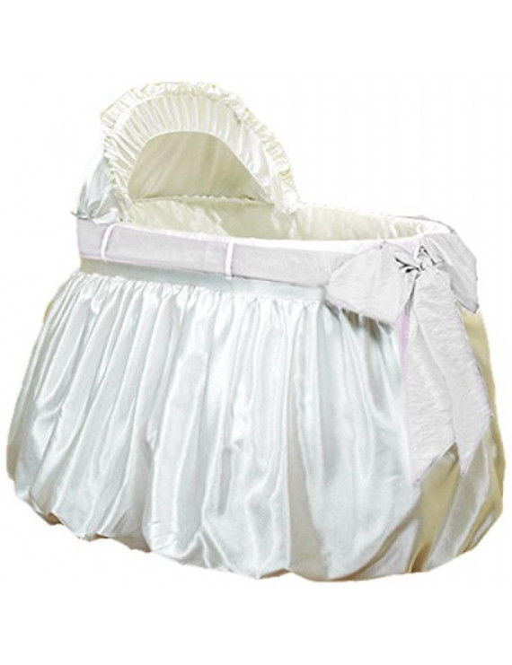 Baby Doll Bedding Shantung Bubble and Crushed Belt Bassinet Set, Ecru