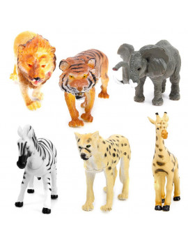 6pcs Plastic Model Tiger Leopard Lion Giraffe Zebra Elephant Wild Animals Toy