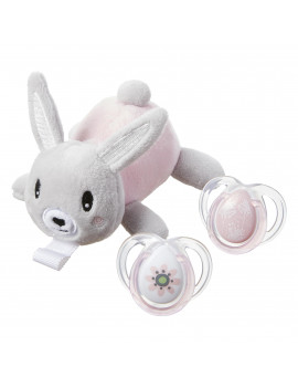 Paci-Snuggie Stuffed Animal with Two Pacifiers, 0-6 months - Bunny