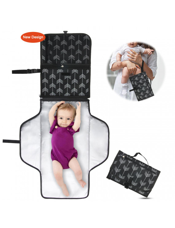 Baby Portable Changing Pad with Pockets - Diaper Clutch - Auchen Lightweight Travel Mat Station Diaper Bag for Infants and Newborns - Entirely Padded, Detachable and Wipeable Mat