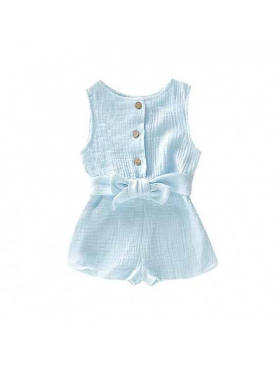 Infant Baby Sleeveless Solid Print Rompers Kids Girls Bodysuit Jumpsuit Overalls Newborn Clothes