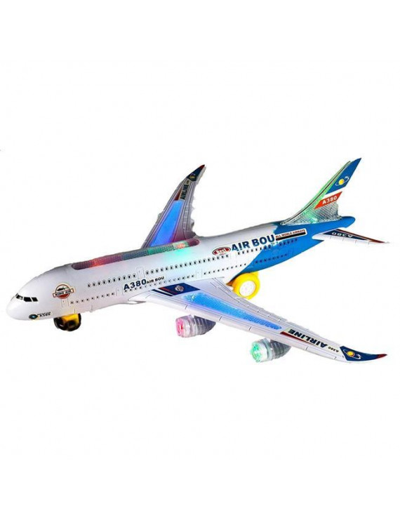Toy Airplane with Flashing Lights & Sound, Blue