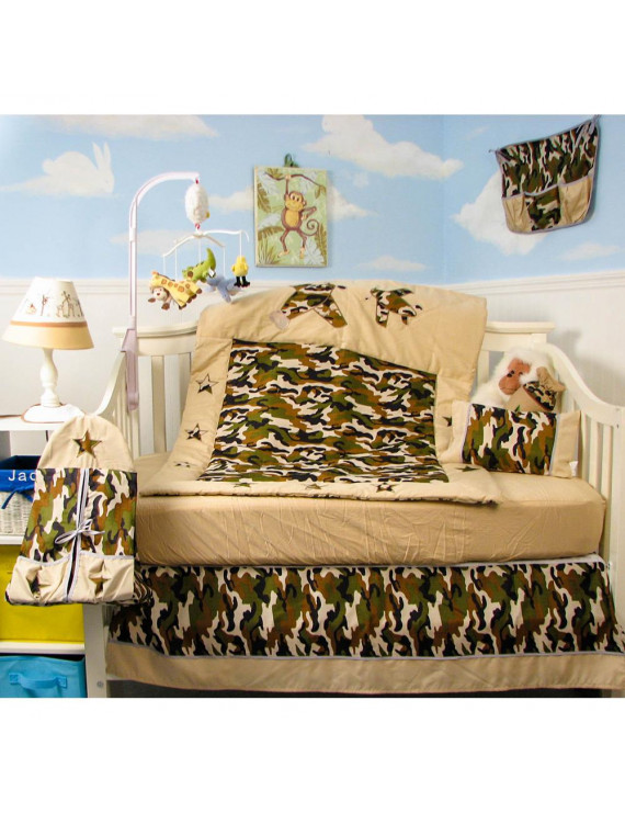 SoHo Crib Bedding Set for Baby Nursery, Green Brown Army Camo, 9 Pieces