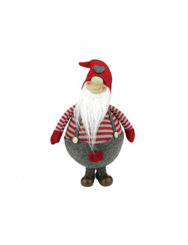 """12"""" Red and Gray Striped """"Gilbert"""" Chubby Standing Santa Gnome Plush Table Top Christmas Figure"""