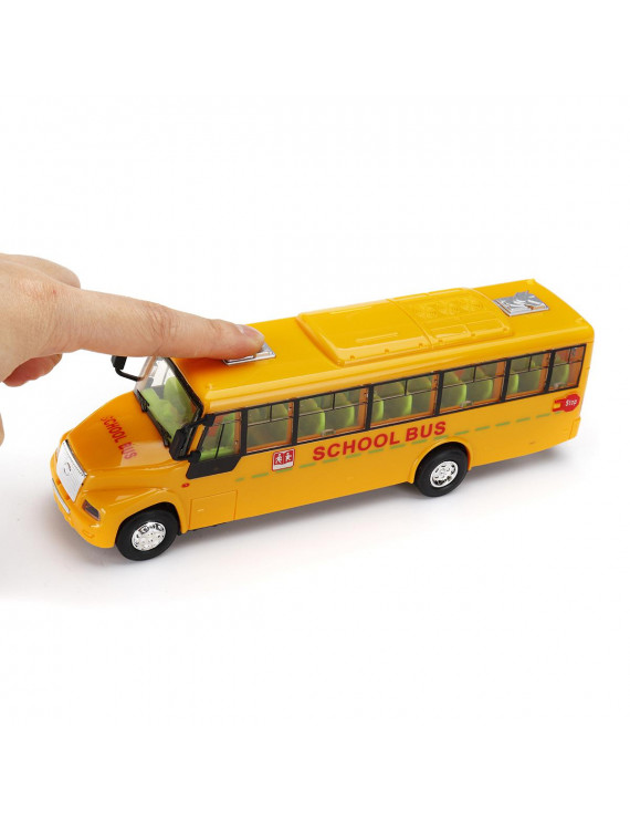School Bus Car Model Toy Lights Music Battery Operated Children Toy Learning For Kids 3 And Up