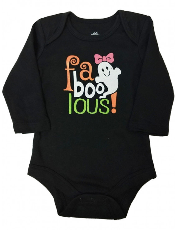 Infant Girl Black Fa Boo Lous! Bodysuit Glitter Ghost Creeper Shirt