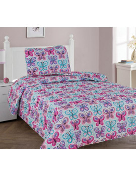 2-PC TWIN BUTTERFLY BLUE Kids Microfiber Bedding Quilt Set, 1 Print Quilted Coverlet with 1 Matching Pillow Sham Included