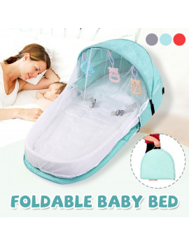 2 IN 1 Foldable Portable Baby Infant Travel Sleep Bag Bed Folding Crib with Mosquito Nets Prevent Mosquitoes