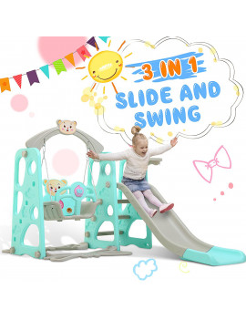 3 in 1 Toddler Climber and Swing Set, 2 in 1 Children's Climber Set,Kids Combination Playset, With Basketball Hoop, Indoor Outdoor Game Set Gift For Kid Child Toddlers