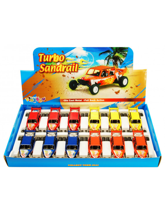 Turbo Sandrail Diecast Car Package - Box of 12 5 inch scale Diecast Model Cars, Assorted Colors
