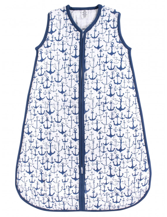 Yoga Sprout Baby Boy and Girl Muslin Sleeping Bag, Blue Anchor, 18-24 Months
