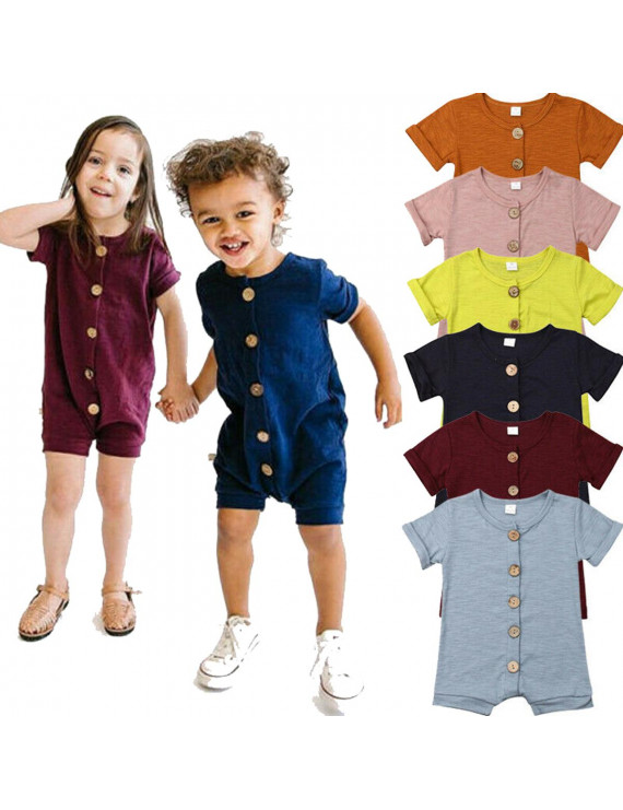 Toddler Infant Baby Boys Girls Button Cotton Romper Jumpsuit Playsuit Clothes