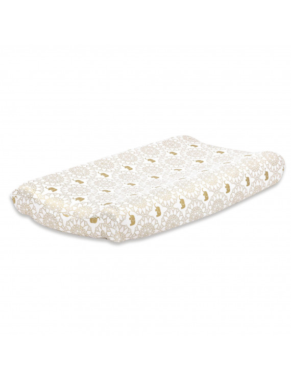 The Peanut Shell Baby Contoured Changing Pad Cover - Gold Medallion and Elephants Design - 100% Cotton Sateen Fabrics, Fits 32 by 16 Inch Pads